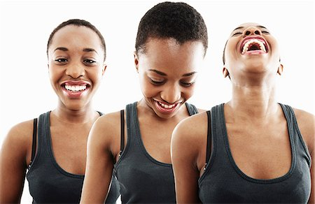 repeating - Three time multi exposure of young woman smiling and laughing Stock Photo - Premium Royalty-Free, Code: 614-07735606