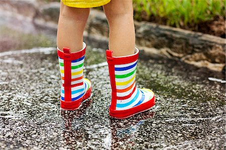 Legs of girl wearing rubber boots standing in rain puddle Stock Photo - Premium Royalty-Free, Code: 614-07805747