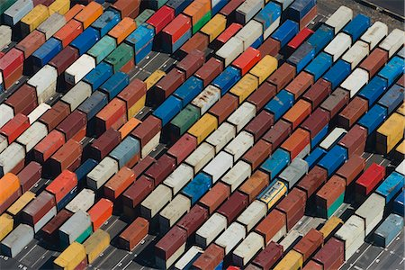 patterned - Aerial view of angled multi color cargo containers, Port Melbourne, Melbourne, Victoria, Australia Stock Photo - Premium Royalty-Free, Code: 614-07806088