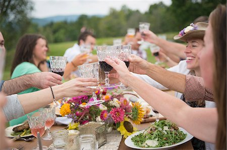 Family and friends making a toast at outdoor meal Stock Photo - Premium Royalty-Free, Code: 614-07806369
