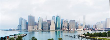 Panoramic view of Lower Manhattan skyline, New York, USA Fotografie stock - Premium Royalty-Free, Codice: 614-07806519