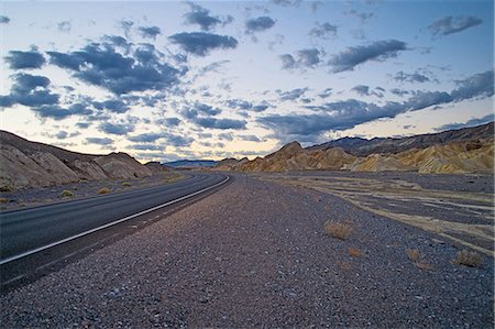 Roadside view of highway 190 at dawn, Death Valley National Park, California, USA Stock Photo - Premium Royalty-Free, Code: 614-07911892