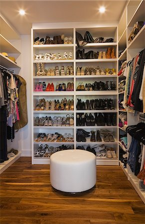 Luxury walk in closet with storage for shoes and clothing Stock Photo - Premium Royalty-Free, Code: 614-08000331