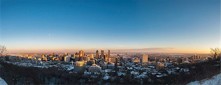 scenic view - Panoramic view of city skyline at sunset, Mont Royal, Montreal, Quebec, Canada Stock Photo - Premium Royalty-Free, Code: 614-08030640