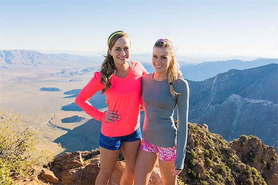 Portrait of two female trail running friends on Pacific Crest Trail, Pine Valley, California, USA Stock Photo - Premium Royalty-Free, Image code: 614-08066000
