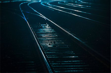 Train tracks at night, Seattle, USA Stock Photo - Premium Royalty-Free, Code: 614-08081414