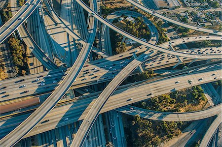 Aerial view of multi lane highways and flyovers, Los Angeles, California, USA Stock Photo - Premium Royalty-Free, Code: 614-08148485