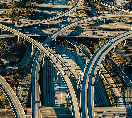 Aerial view of flyovers and multi lane highways, Los Angeles, California, USA Stock Photo - Premium Royalty-Free, Code: 614-08148481