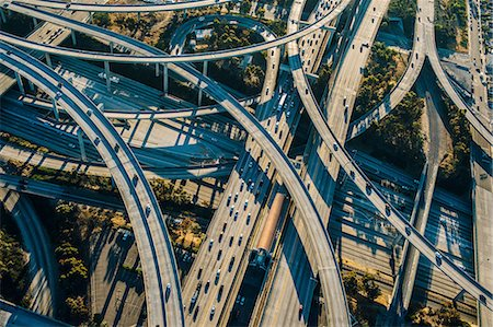 Aerial view of curved flyovers and highways, Los Angeles, California, USA Stock Photo - Premium Royalty-Free, Code: 614-08148482