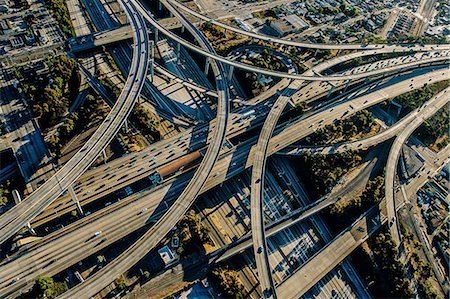 Aerial view of complex curved flyovers and highways, Los Angeles, California, USA Stock Photo - Premium Royalty-Free, Code: 614-08148483