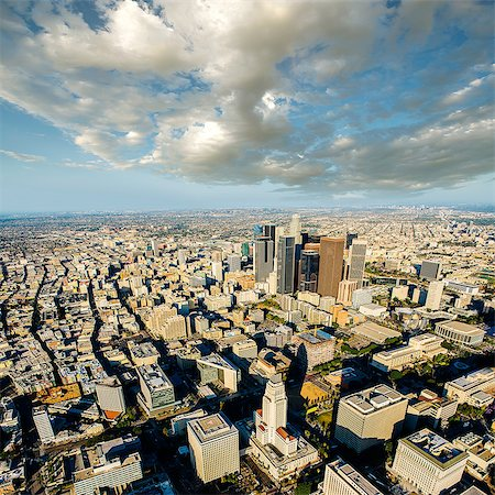 Aerial view of city skyscrapers, Los Angeles, California, USA Stock Photo - Premium Royalty-Free, Code: 614-08148699