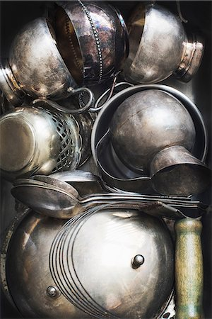 Assortment of pots and cutlery Stock Photo - Premium Royalty-Free, Code: 614-08879603