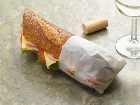 sandwich wrapper - Baguette and wine Stock Photo - Premium Royalty-Free, Code: 614-00944627