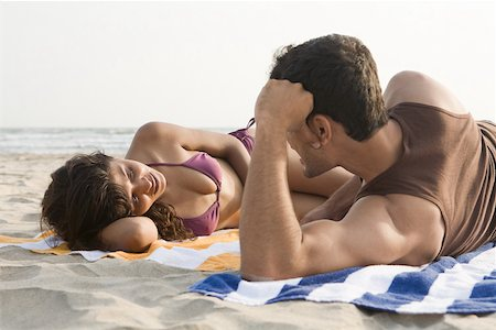 Couple on beach Stock Photo - Premium Royalty-Free, Code: 614-02259847