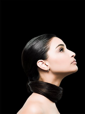 Profile of a young woman Stock Photo - Premium Royalty-Free, Code: 614-02343571