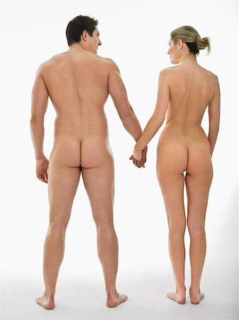 Nude couple holding hands Stock Photo - Premium Royalty-Free, Code: 614-02739461