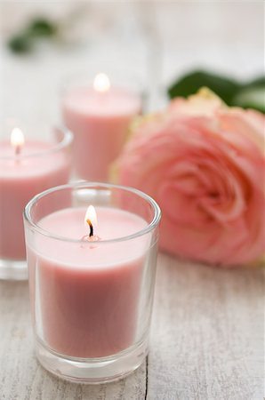 femininity - Rose and candles Stock Photo - Premium Royalty-Free, Code: 614-02934484