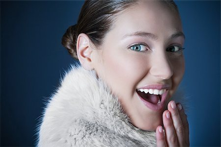 Girl with fur scarf Stock Photo - Premium Royalty-Free, Code: 614-02935252