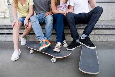 female 16 year old feet - Teenagers with skateboards Stock Photo - Premium Royalty-Free, Code: 614-03080138