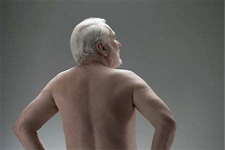 Naked senior man, rear view Stock Photo - Premium Royalty-Free, Code: 614-03551879
