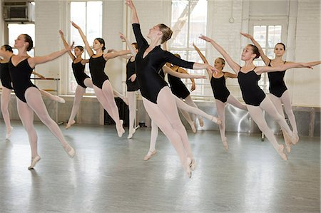 preteen dancing - Ballerinas jumping Stock Photo - Premium Royalty-Free, Code: 614-03684410