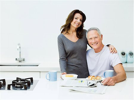 Mature couple having breakfast Stock Photo - Premium Royalty-Free, Code: 614-03763836
