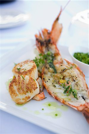 Lobster tail and scallops Stock Photo - Premium Royalty-Free, Code: 614-03763930