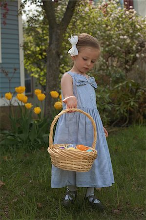 Three yeasr old girl with Easter basket in Dress Stock Photo - Premium Royalty-Free, Code: 618-05551175