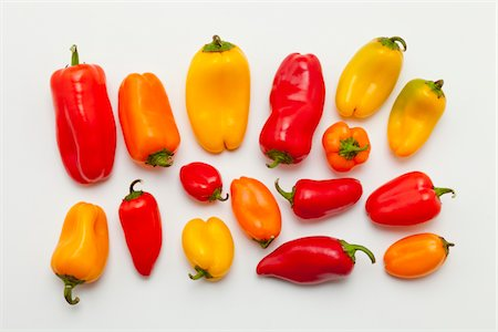 spicy - Sweet chilli peppers on white background Stock Photo - Premium Royalty-Free, Code: 618-05605447