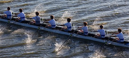 sport rowing teamwork - High angle view men sitting in canoe Stock Photo - Premium Royalty-Free, Code: 618-05761591