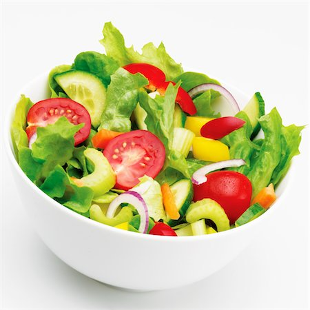salad - Bowl of mixed salad vegetables against white Stock Photo - Premium Royalty-Free, Code: 618-05761775