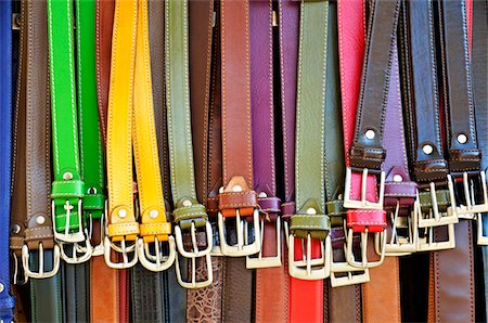 Hanging colorful leather belts at shop Stock Photo - Premium Royalty-Free, Code: 618-05799653