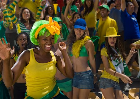 soccer fan - Brazilian fans at soccer game in Cape Town, South Africa Stock Photo - Premium Royalty-Free, Code: 618-05800166