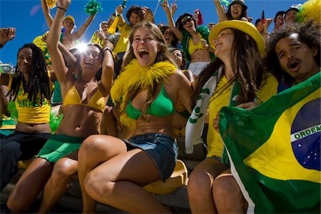 soccer fan - Brazilian fans at soccer game in Cape Town, South Africa Stock Photo - Premium Royalty-Free, Code: 618-05800167