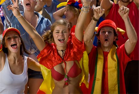 soccer fan - Spanish fans at soccer game in Cape Town, South Africa Stock Photo - Premium Royalty-Free, Code: 618-05800173