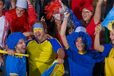 soccer fan - Ukrainian fans at soccer game in Cape Town, South Africa Stock Photo - Premium Royalty-Free, Code: 618-05800191