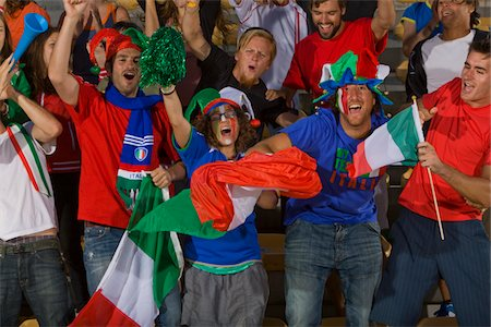 soccer fan - Italian fans at soccer game in Cape Town, South Africa Stock Photo - Premium Royalty-Free, Code: 618-05800193