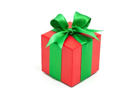 red gift box with green bow Stock Photo - Premium Royalty-Free, Code: 618-05818135