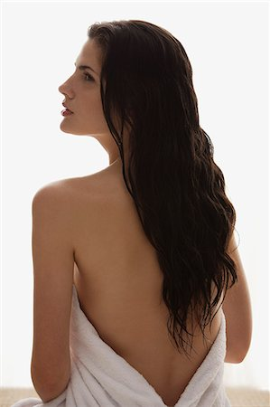 profile of woman wrapped in towel Stock Photo - Premium Royalty-Free, Code: 618-06318754