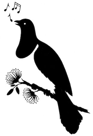 silhouette black and white - Silhouette of Native New Zealand Wood Pigeon/Kerer Stock Photo - Premium Royalty-Free, Code: 618-06436709