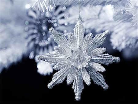 Silver Glitter snowflake decoration Stock Photo - Premium Royalty-Free, Code: 618-06618230