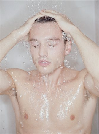Man Showering Stock Photo - Premium Royalty-Free, Code: 618-07375633