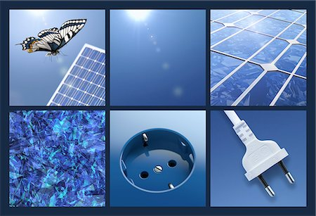 Multipicture for solar energy Stock Photo - Premium Royalty-Free, Code: 618-07524229