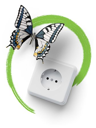 Socket with butterfly and green marker line Stock Photo - Premium Royalty-Free, Code: 618-07524234