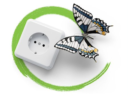 Socket with butterfly and green marker line Stock Photo - Premium Royalty-Free, Code: 618-07524237
