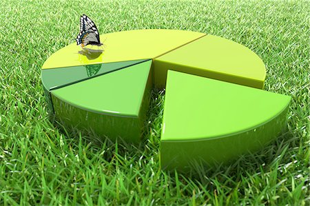 Green pie chart with butterfly on grass Stock Photo - Premium Royalty-Free, Code: 618-07524239