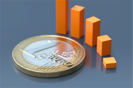 finance - Euro coin with an descending bar chart Stock Photo - Premium Royalty-Free, Code: 618-07524233