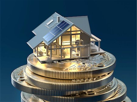 shimmering - Inside delighted model of a house on euro coins Stock Photo - Premium Royalty-Free, Code: 618-07524256