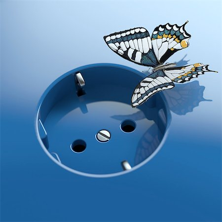 Blue socket with butterfly Stock Photo - Premium Royalty-Free, Code: 618-07524257