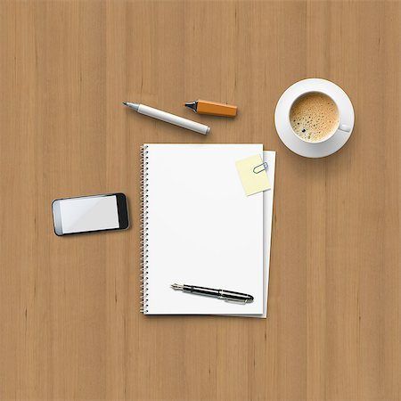 Office utensils for a meeting on a wooden table Stock Photo - Premium Royalty-Free, Code: 618-07595976